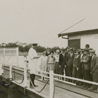 Passengers lining up at the Quarantine Station