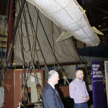 Kevin Jones with curator, Dr Adam Paterson at the Kondoli unveiling